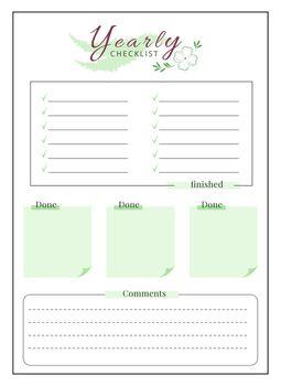 Yearly checklist minimalist planner page design