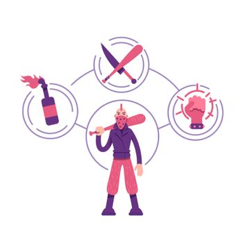 Rebel archetype flat concept vector illustration