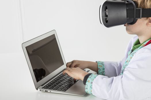 young doctor in virtual reality goggles is working on a 3D model of the virus