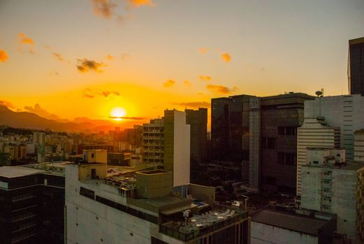Rio de Janeiro, Brazil, America: Beautiful landscape with views of skyscrapers at sunset in Rio de Janeiro.