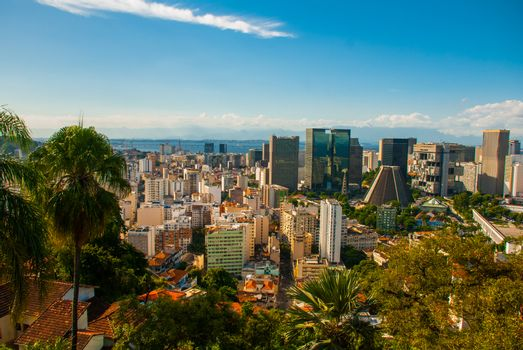 Rio de Janeiro, Brazil: Metropolitan cathedral in Rio de Janeiro, Brazil. Beautiful view of skyscrapers and houses from above.