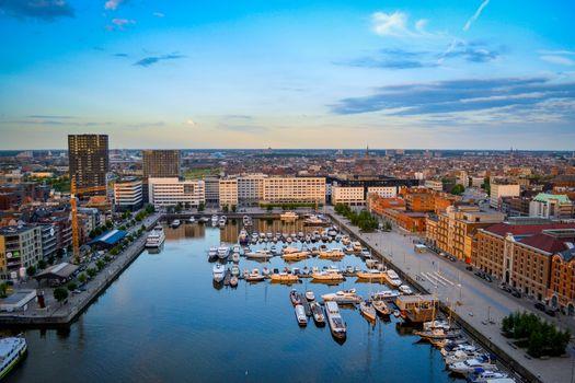 Antwerp, Belgium, June 2011: view on the Willemdok at Eilandje, surroundings and cityscape