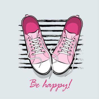 Be happy printable poster. Youth young trendy fashion. Pop art drawing sneakers shoes. Kitsch colored comic text background. Pair sporty shoes.