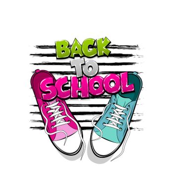 Back to school creative printable poster. Youth young trendy fashion. Pop art drawing sneakers shoes. Kitsch colored comic text background. Pair sporty shoes.