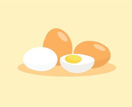 Boiled egg isolated on white background. Peeled boiled eggs isolated on white background.