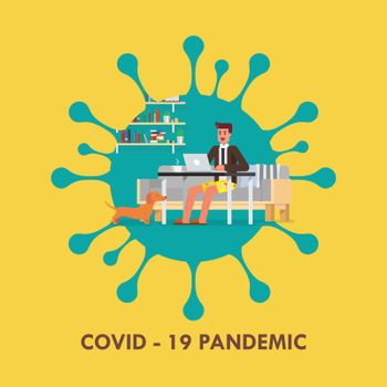 Man working from home Coronavirus concept. Coronavirus Covid-19 concept.