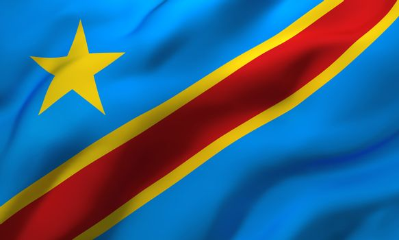 Flag of Democratic Republic of the Congo blowing in the wind