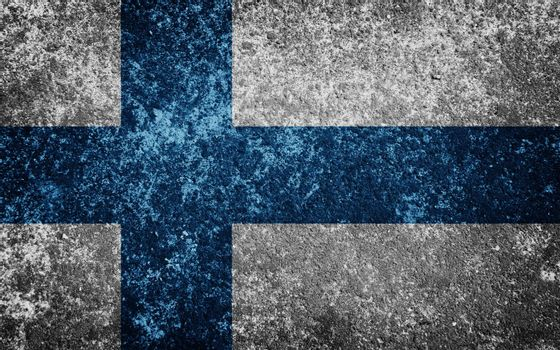 Finland flag painted on concrete