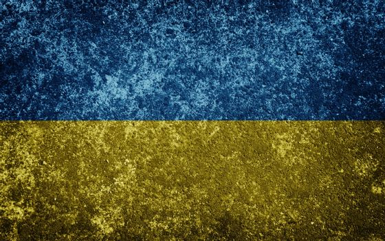 Ukraine flag painted on concrete