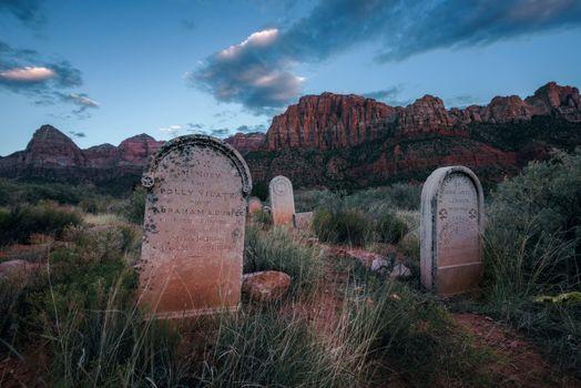 Historic pioneer cemetery in Springdale, Utah