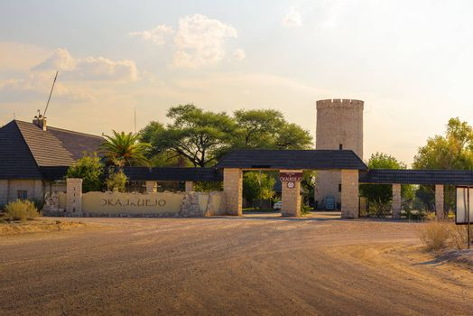 Entry gate of the Okaukuejo resort and campsite in Etosha National Park