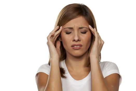 woman with a strong headache