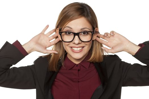 funny woman holding her ears