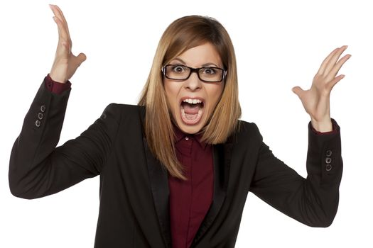 angry business woman screaming