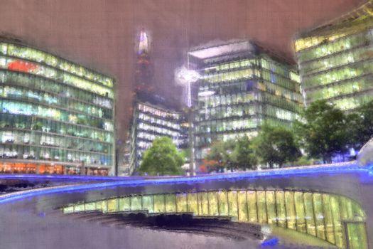 Foto of an aquarell image of London with a canvas structure
