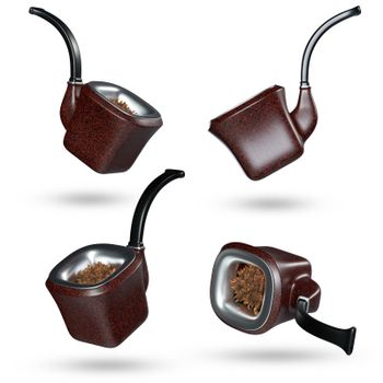 Four vintage pipe smoke in different poses in isolate white background and clipping path. Element for decorating your work. Concept of anti-tobacco and world no tobacco day. 3D illustrator rendering.