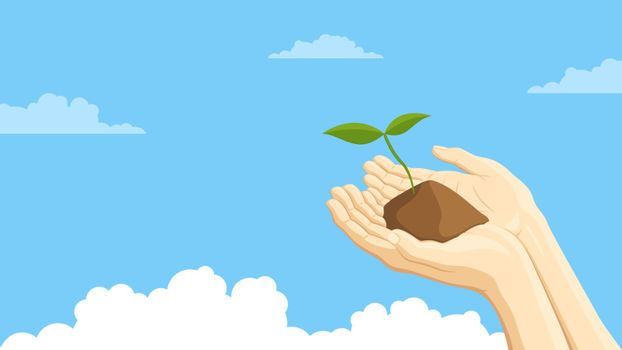 Detailed flat vector illustration of two hands holding a sprout representing sustainability. Blue background with clouds.