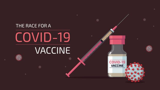 Syringe and bottle containing vaccine for COVID-19