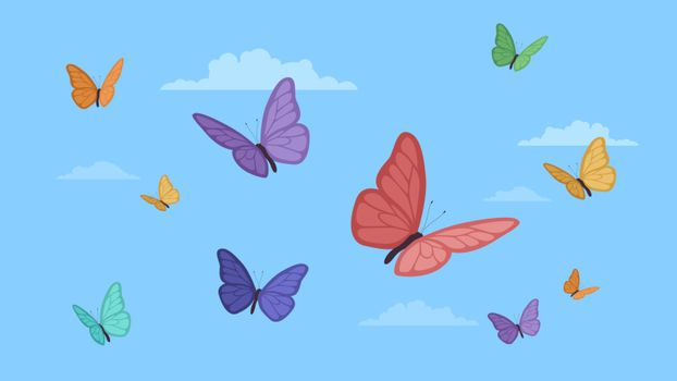 Detailed flat vector illustration of colorful butterflies on a blue background with clouds. International Butterfly Day.