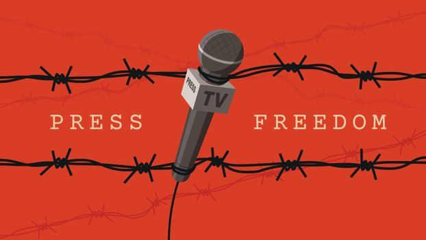 Detailed flat vector illustration of a microphone tangled in barbed wires. World Press Freedom Day.