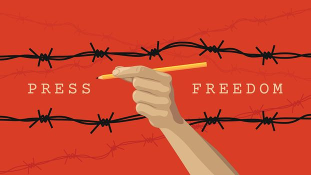 Detailed flat vector illustration of a hand holding a pen between layers of barbed wires. World Press Freedom Day.