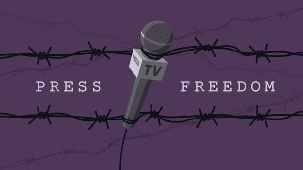 Detailed flat vector illustration of a microphone tangled in barbed wires. World Press Freedom Day. Purple background.