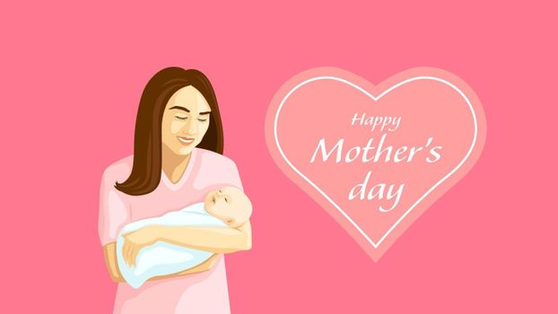 Detailed flat vector illustration of a mother holding a swaddled baby in her arms. Mother's Day.