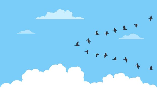 Detailed flat vector illustration of a flock of migrating birds on a blue background with clouds.