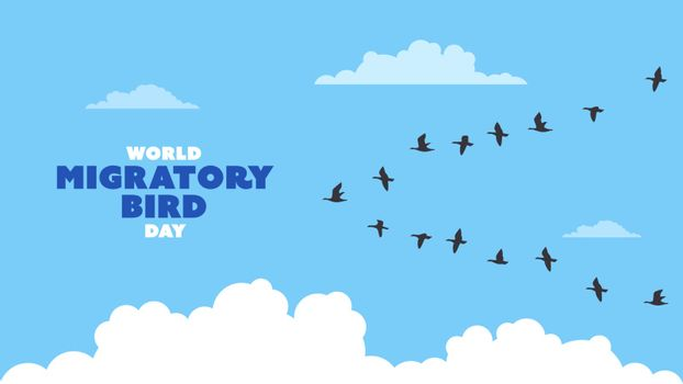Detailed flat vector illustration of a flock of migrating birds on a blue background with clouds. World Migratory Birds Day.