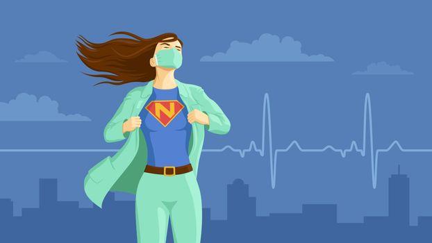 Detailed flat vector illustration of a nurse revealing her superhero emblem underneath her coat. International Nurses Day.