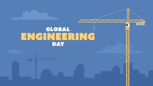 Detailed flat vector illustration of a tower crane and a tall building on a dark blue background. Global Engineering Day.