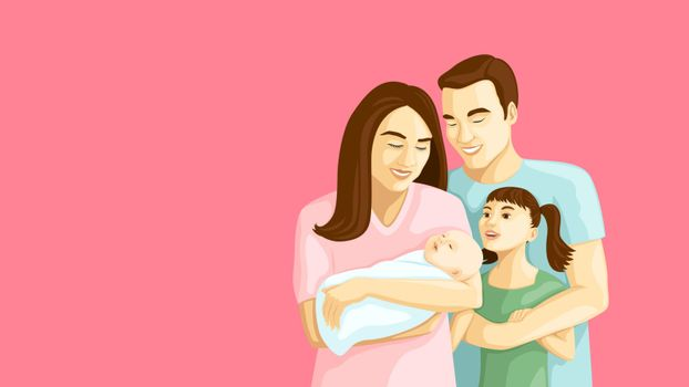 Detailed flat vector illustration of a happy family of four. International Day of Families.