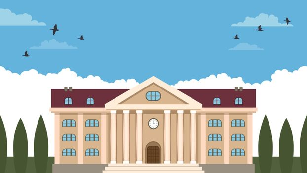 Detailed flat vector illustration of a public building like a museum or a school. International Day for Museums.