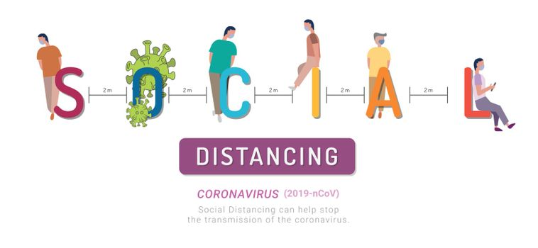 Social distancing, keep distance in public society people to protect from coronavirus. Concept of dangerous virus.