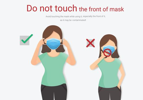 Do not touch the front of mask, Mask Virus outbreak prevention.