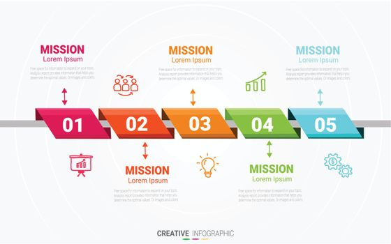 Presentation infographic template with 5 options