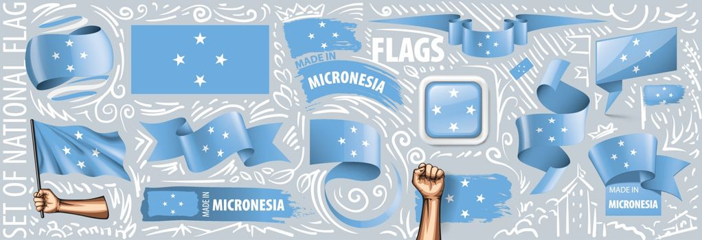 Vector set of the national flag of Federated States Micronesia in various creative designs.