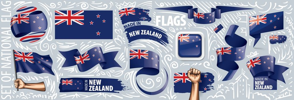 Vector set of the national flag of New Zealand in various creative designs.