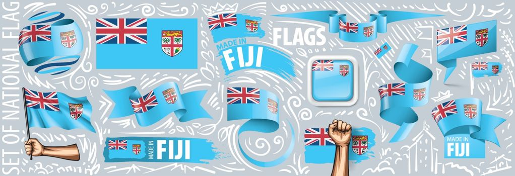 Vector set of the national flag of Fiji in various creative designs.