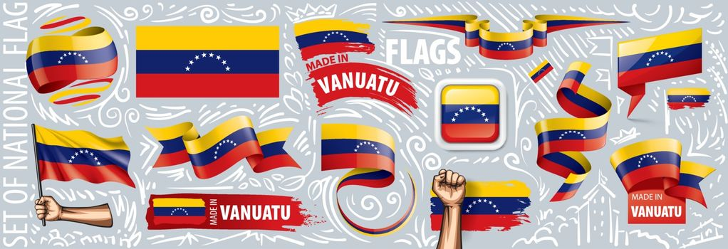 Vector set of the national flag of Venezuela in various creative designs.