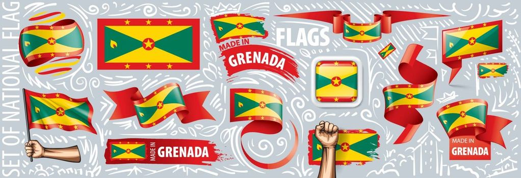 Vector set of the national flag of Grenada in various creative designs.