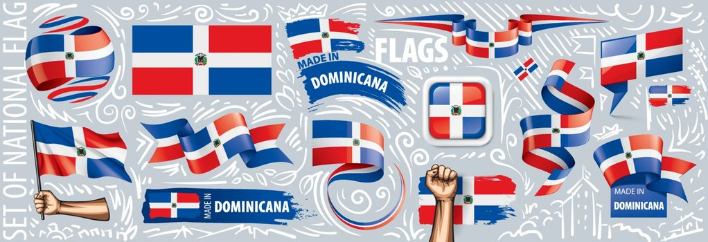 Vector set of the national flag of Dominicana in various creative designs.