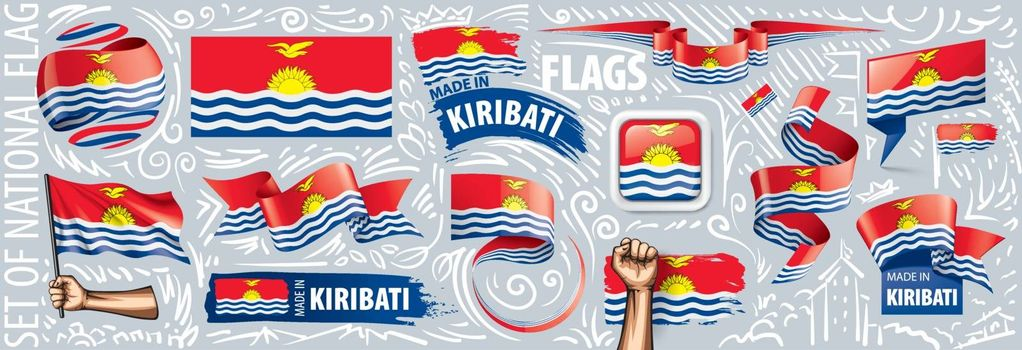 Vector set of the national flag of Kiribati in various creative designs.