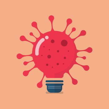 Virus lightbulb icon. Vector illustration. covid-19 CORONAVIRUS concept