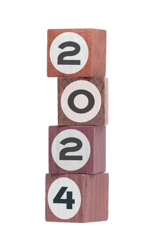 Four isolated hardwood toy blocks, saying 2024