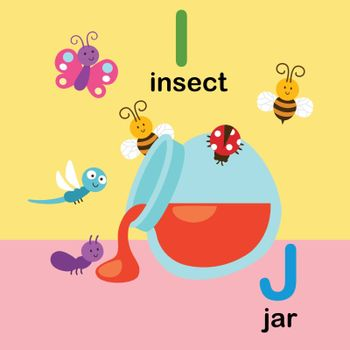 Alphabet Letter I-insect,J-jar,vector illustration
