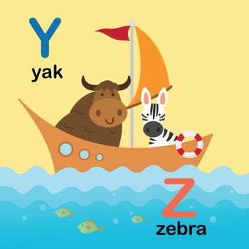 Alphabet Letter Y-yak,Z-zebra,vector illustration