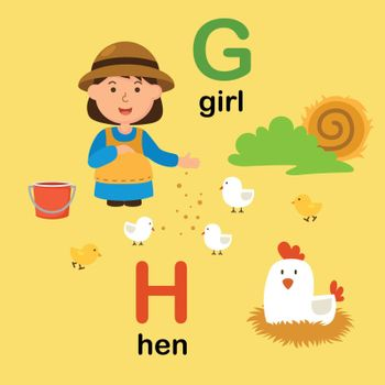 Alphabet Letter G-girl,H-hen,vector illustration