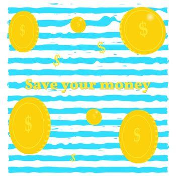 Golden coins. Background of money on blue stripes