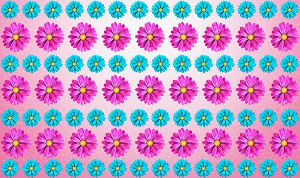 digital textile design of various flowers
